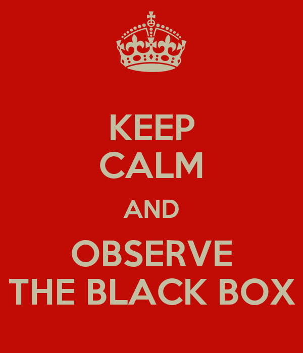 KEEP CALM AND OBSERVE THE BLACK BOX