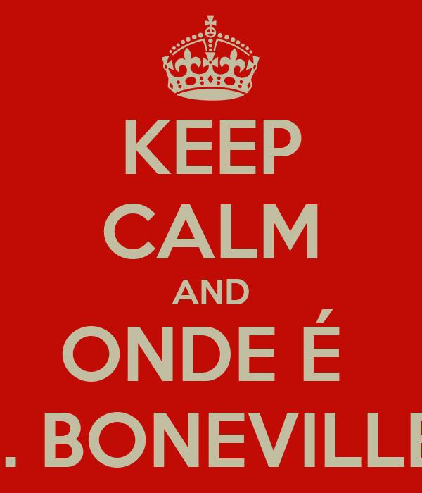 KEEP CALM AND ONDE É  PQ. BONEVILLE ?