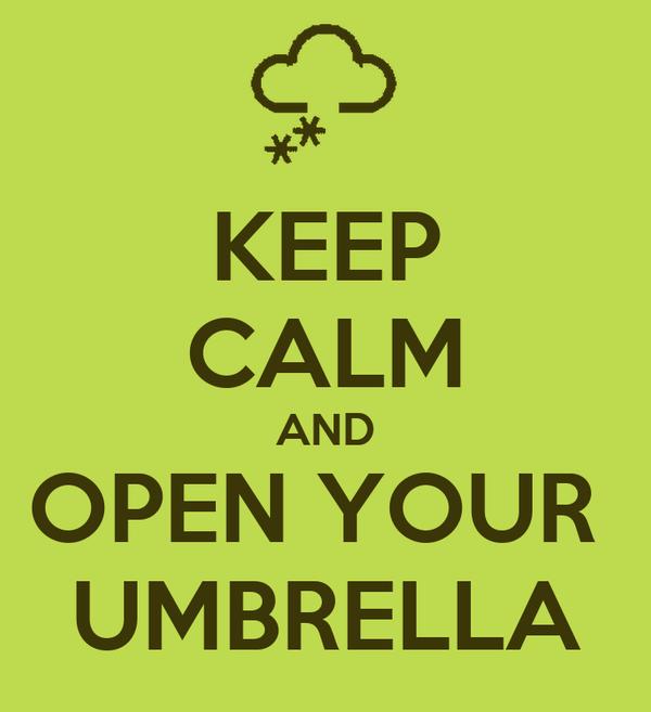 KEEP CALM AND OPEN YOUR  UMBRELLA