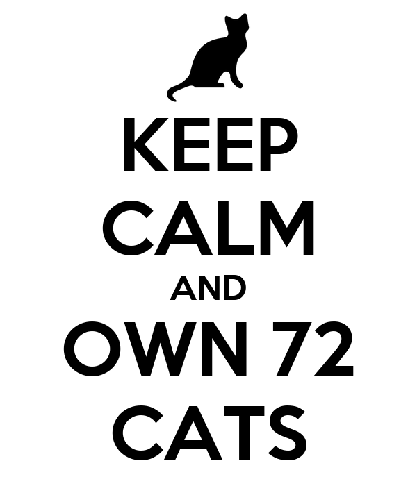 KEEP CALM AND OWN 72 CATS