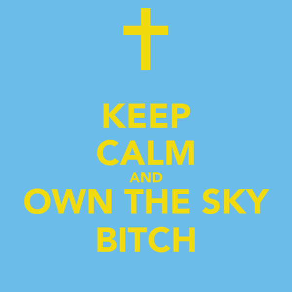 KEEP CALM AND OWN THE SKY BITCH