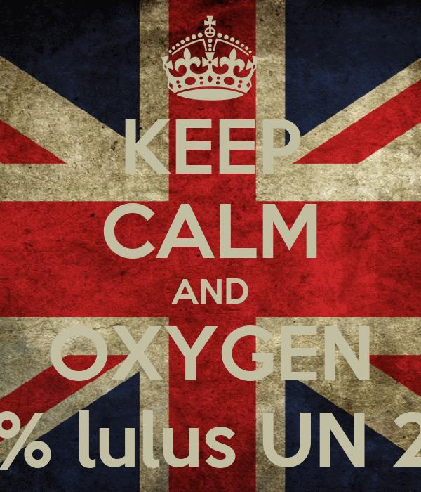 KEEP CALM AND OXYGEN 100% lulus UN 2013