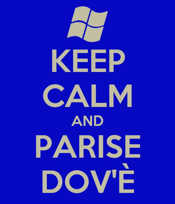 KEEP CALM AND PARISE DOV'È