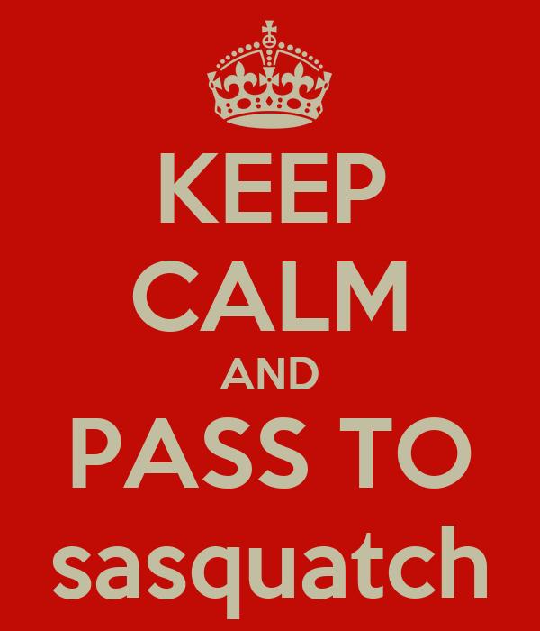 KEEP CALM AND PASS TO sasquatch