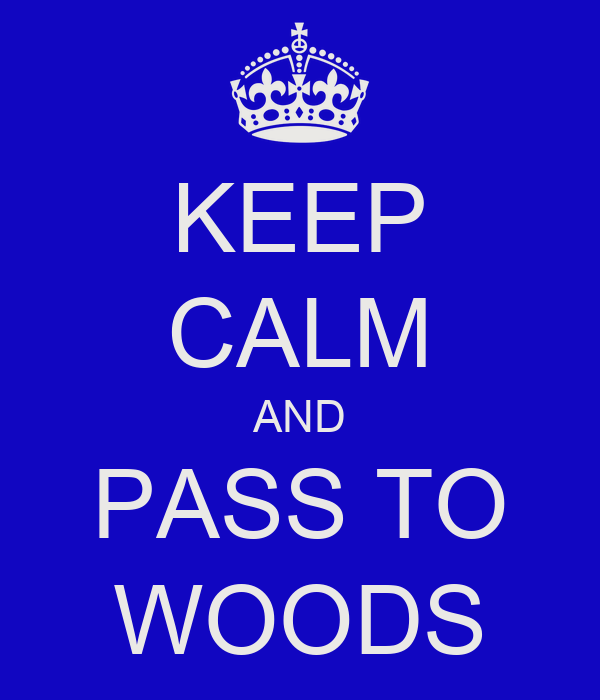 KEEP CALM AND PASS TO WOODS