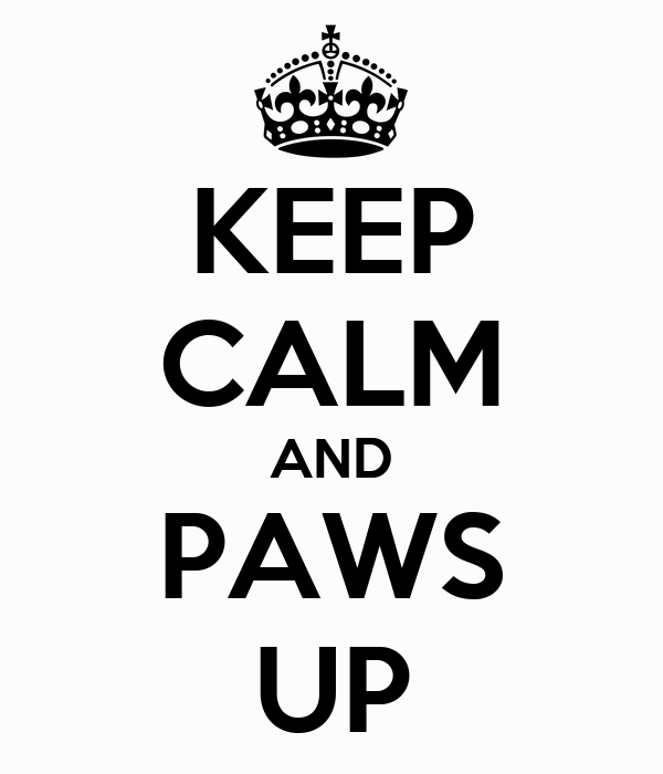 KEEP CALM AND PAWS UP