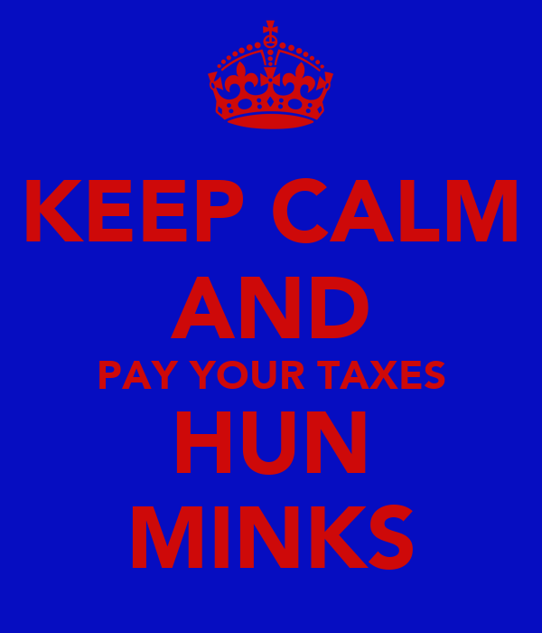 KEEP CALM AND PAY YOUR TAXES HUN MINKS