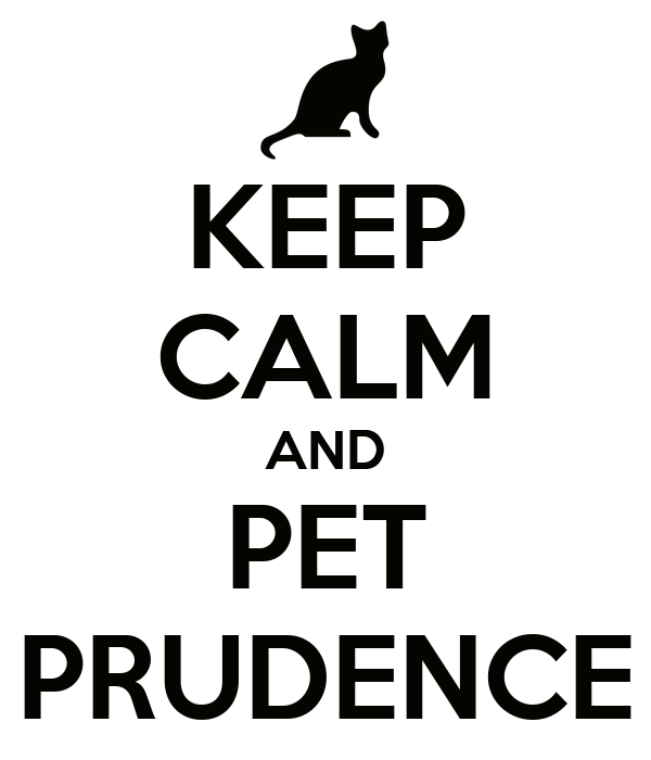 KEEP CALM AND PET PRUDENCE