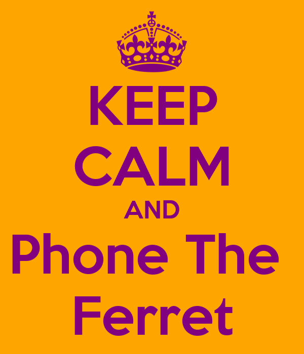 KEEP CALM AND Phone The  Ferret