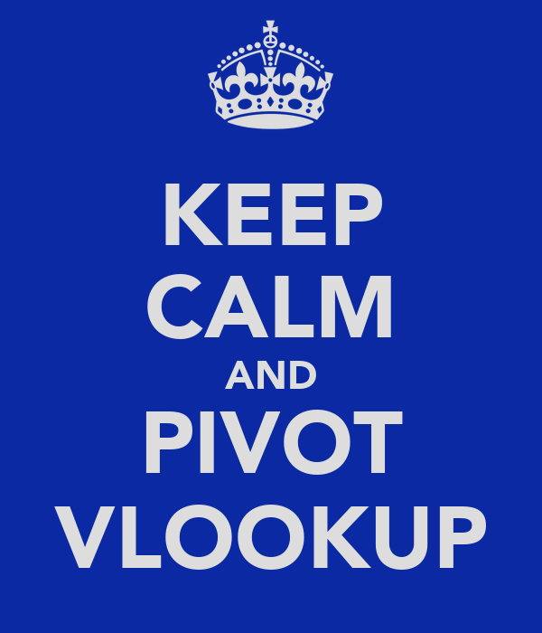 KEEP CALM AND PIVOT VLOOKUP