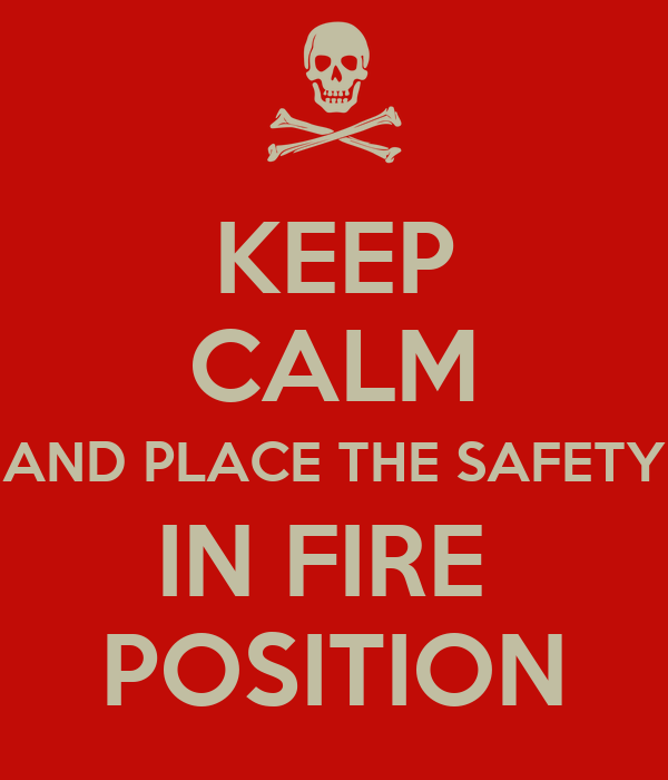 KEEP CALM AND PLACE THE SAFETY IN FIRE  POSITION