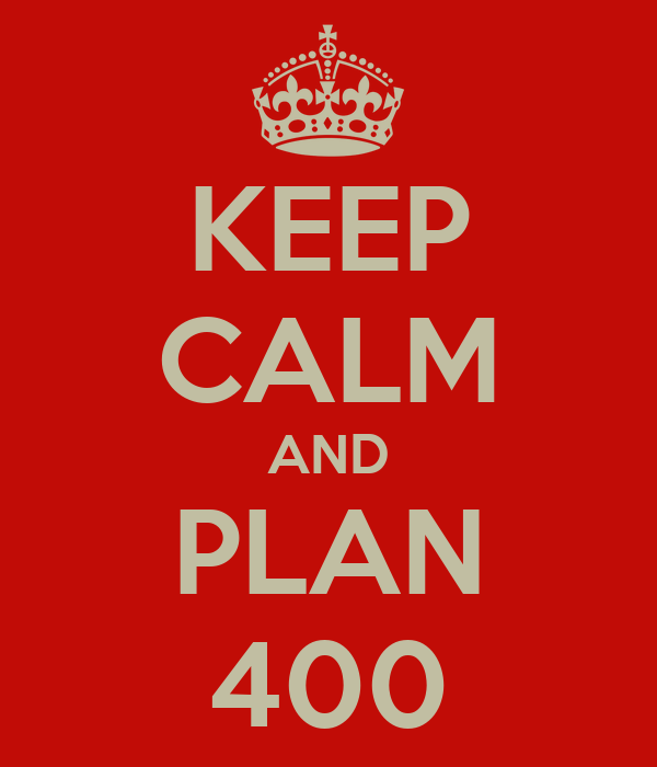 KEEP CALM AND PLAN 400