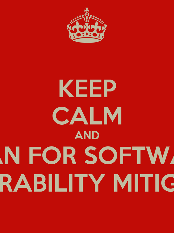 KEEP CALM AND PLAN FOR SOFTWARE VULNERABILITY MITIGATION
