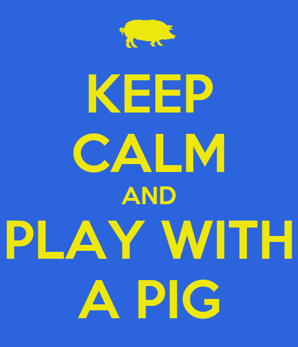 KEEP CALM AND PLAY WITH A PIG