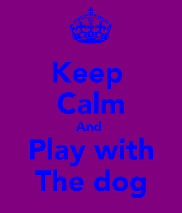 Keep  Calm And  Play with The dog