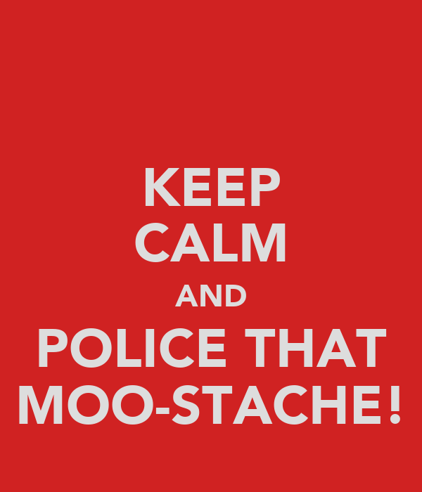 KEEP CALM AND POLICE THAT MOO-STACHE!