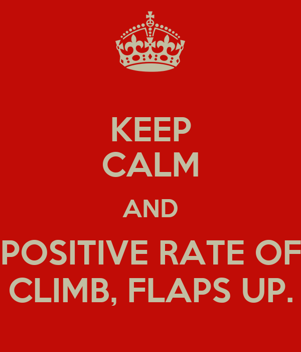 KEEP CALM AND POSITIVE RATE OF CLIMB, FLAPS UP.