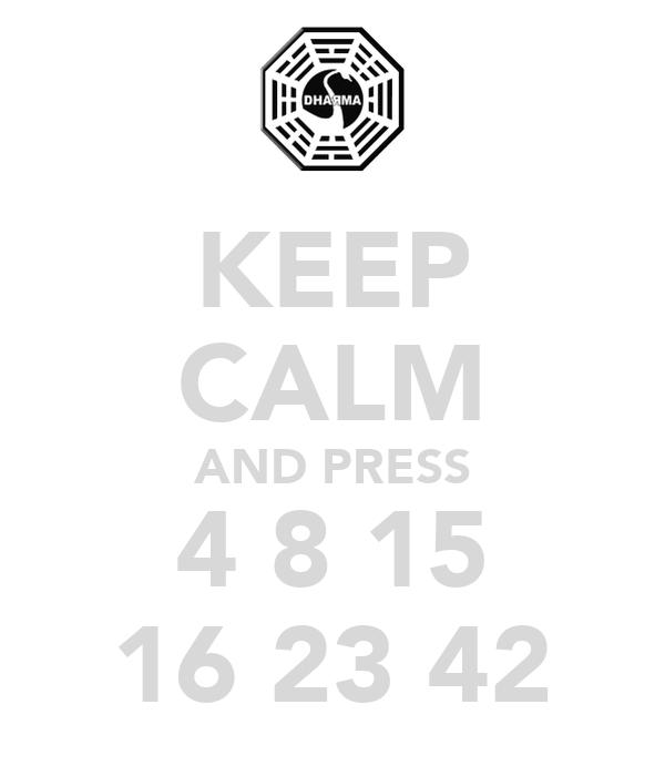 KEEP CALM AND PRESS 4 8 15 16 23 42