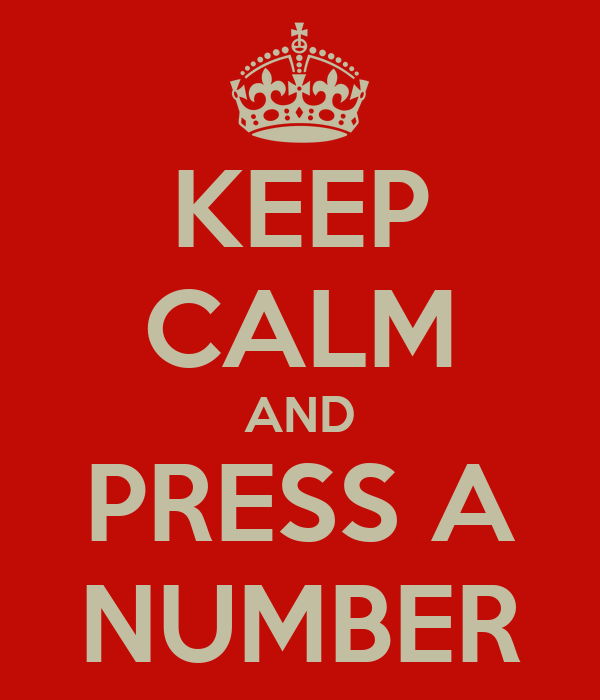 KEEP CALM AND PRESS A NUMBER