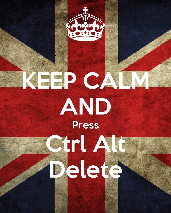 KEEP CALM AND Press Ctrl Alt Delete