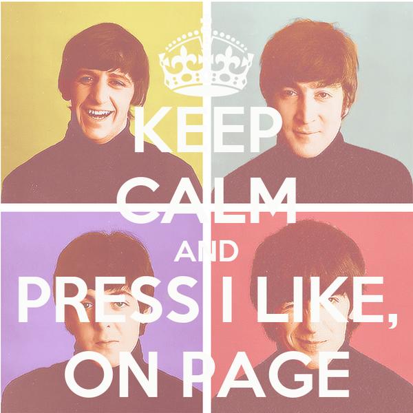 KEEP CALM AND PRESS I LIKE, ON PAGE