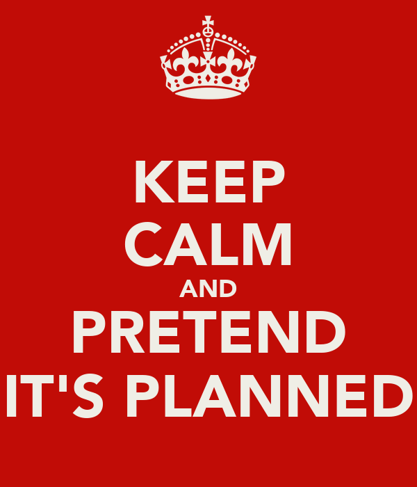 KEEP CALM AND PRETEND IT'S PLANNED
