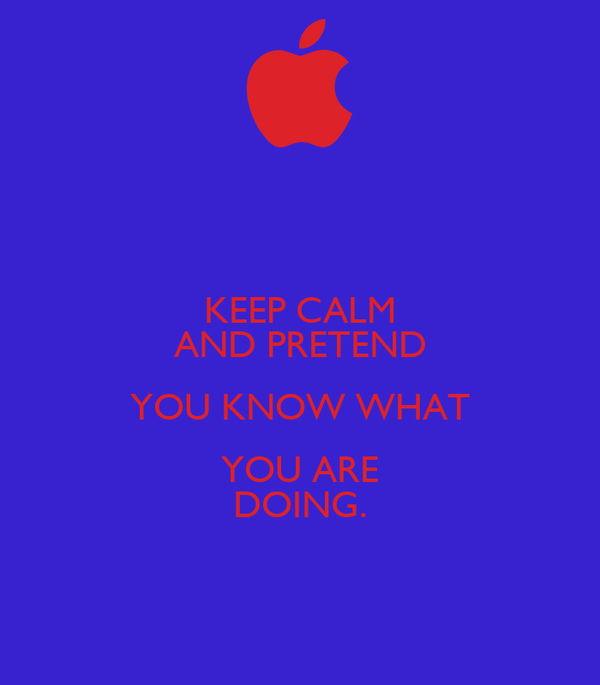 KEEP CALM AND PRETEND YOU KNOW WHAT YOU ARE DOING.