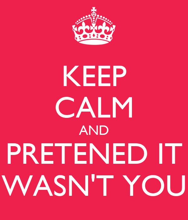 KEEP CALM AND PRETENED IT WASN'T YOU
