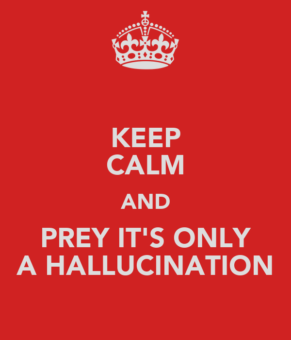 KEEP CALM AND PREY IT'S ONLY A HALLUCINATION