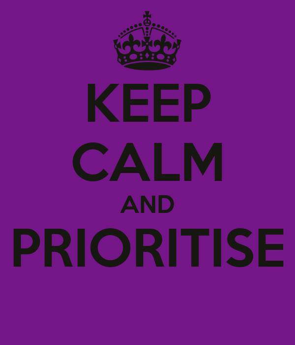 KEEP CALM AND PRIORITISE