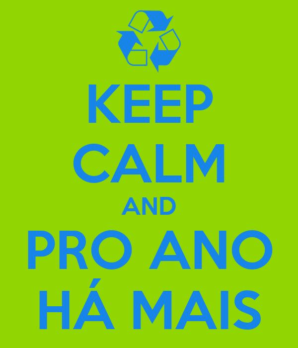 KEEP CALM AND PRO ANO HÁ MAIS