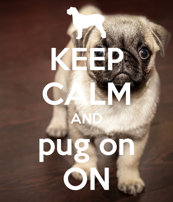 KEEP CALM AND pug on ON