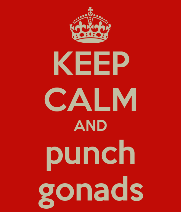 KEEP CALM AND punch gonads