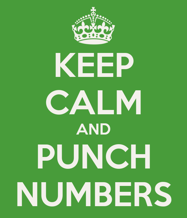 KEEP CALM AND PUNCH NUMBERS