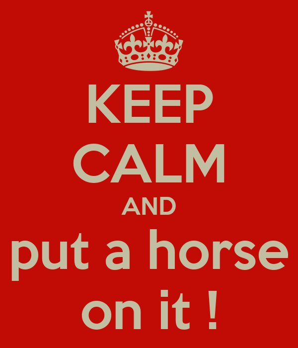 KEEP CALM AND put a horse on it !