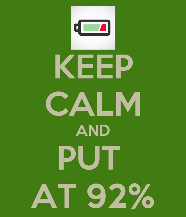 KEEP CALM AND PUT  AT 92%