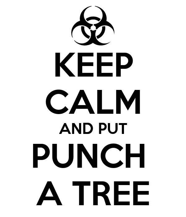 KEEP CALM AND PUT PUNCH  A TREE
