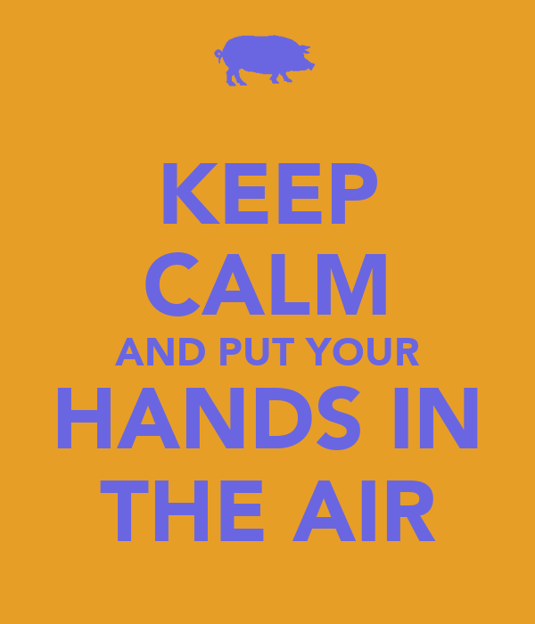 KEEP CALM AND PUT YOUR HANDS IN THE AIR