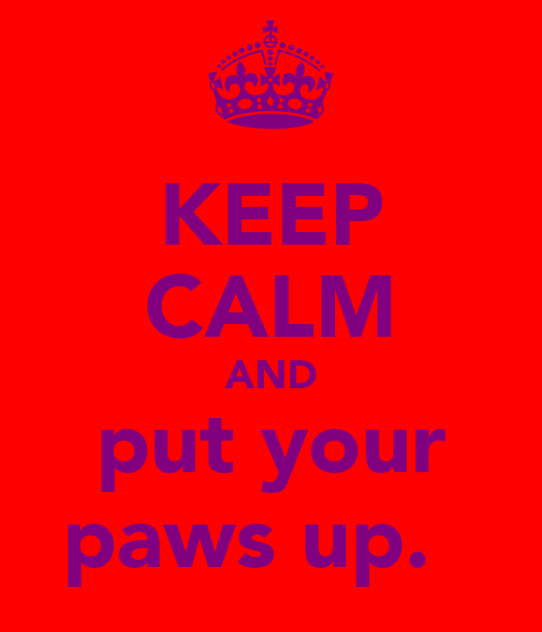 KEEP CALM AND put your paws up.♥