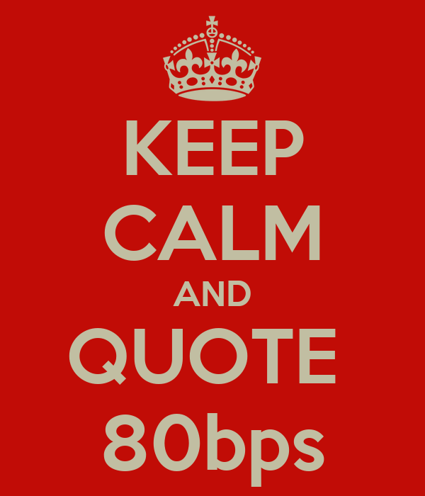 KEEP CALM AND QUOTE  80bps