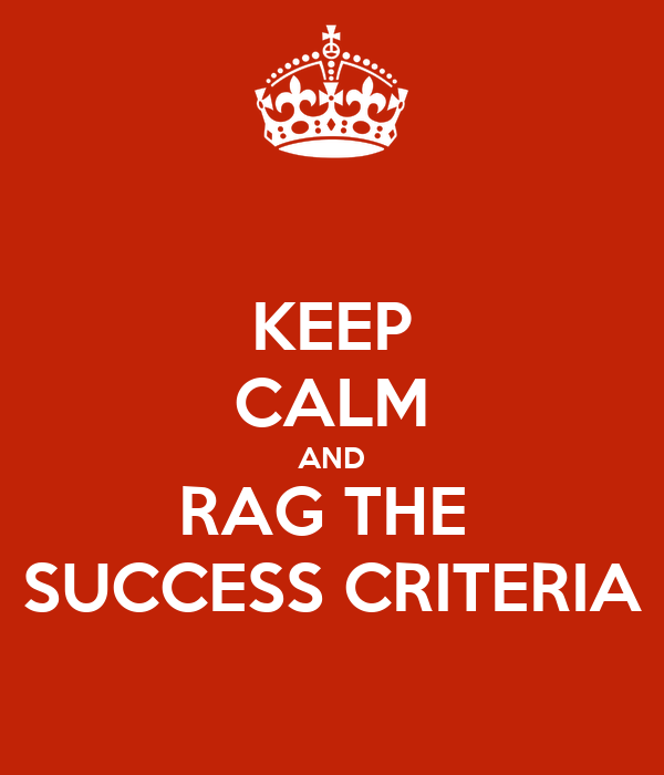 KEEP CALM AND RAG THE  SUCCESS CRITERIA
