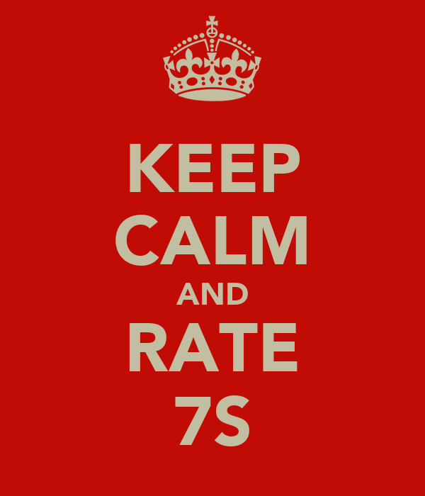 KEEP CALM AND RATE 7S