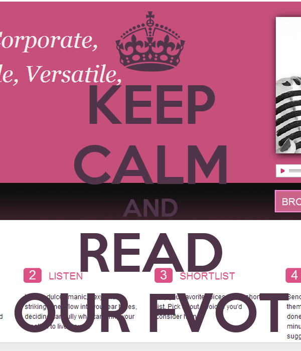 KEEP CALM AND READ OUR FVOT