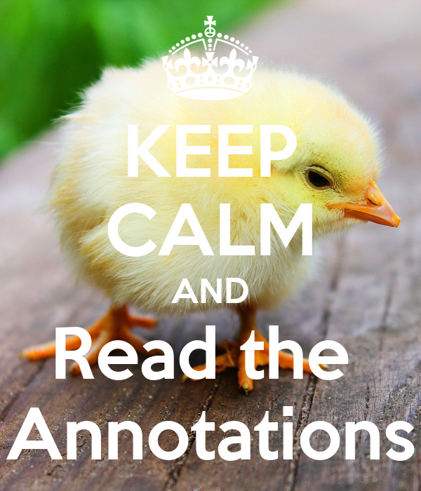 KEEP CALM AND Read the  Annotations