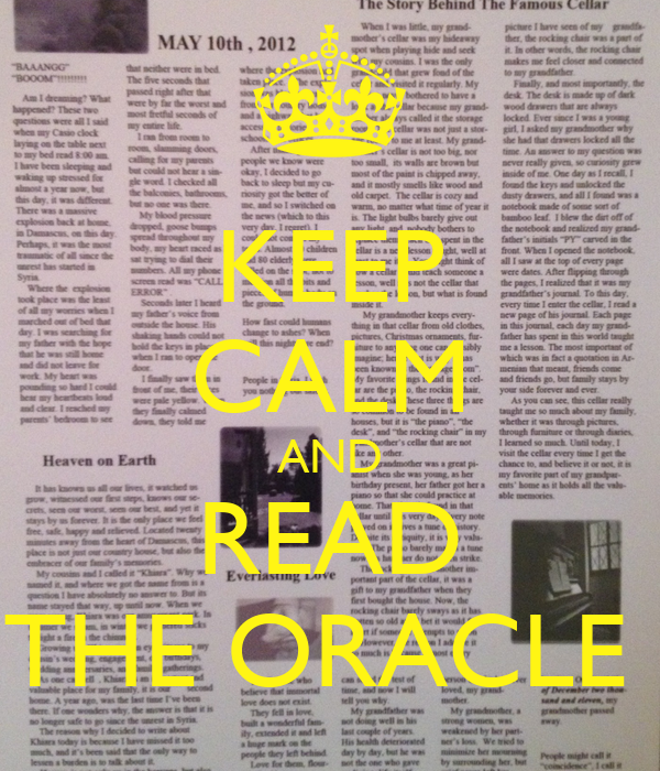 KEEP CALM AND READ THE ORACLE