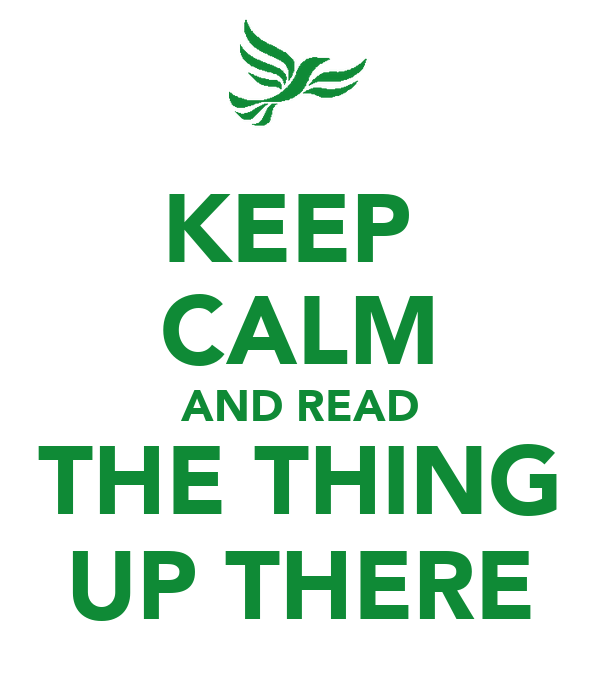 KEEP  CALM AND READ THE THING UP THERE