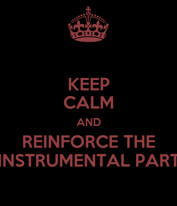 KEEP CALM AND REINFORCE THE INSTRUMENTAL PART
