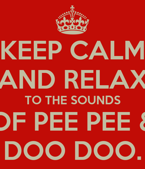 KEEP CALM AND RELAX TO THE SOUNDS OF PEE PEE & DOO DOO.