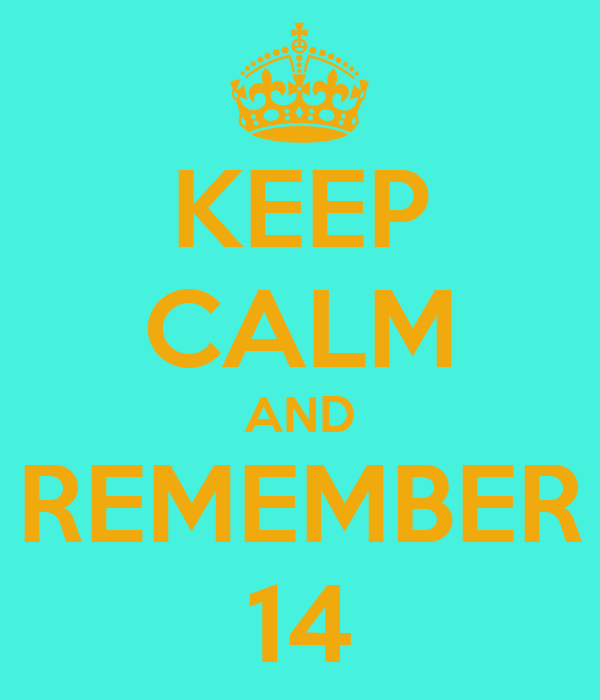KEEP CALM AND REMEMBER 14