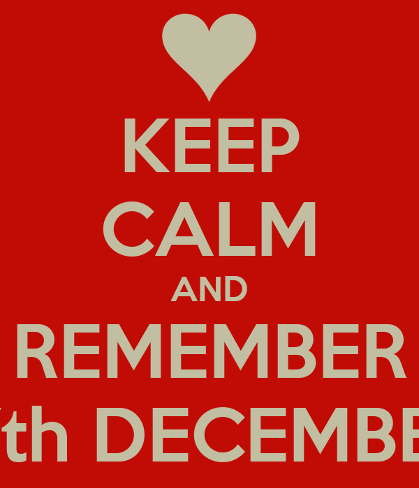 KEEP CALM AND REMEMBER 17th DECEMBER
